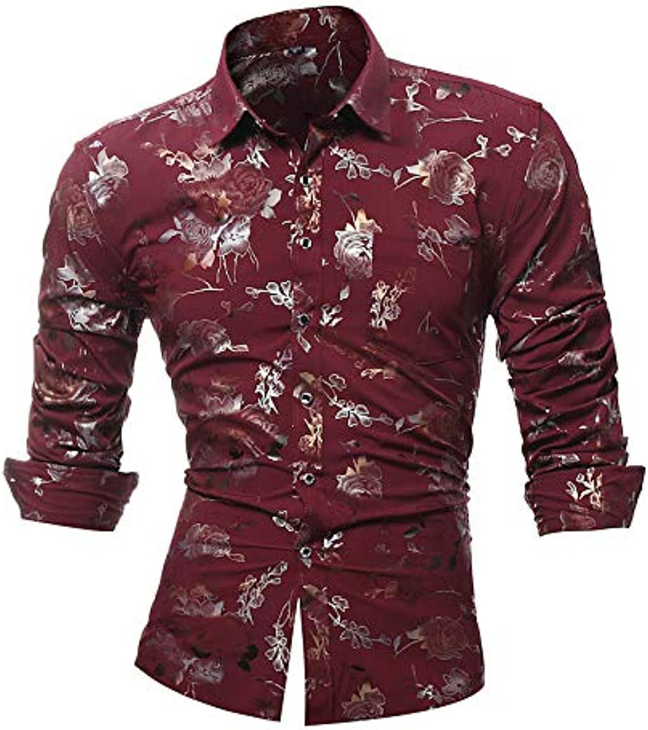 0417e90d51b0e2 Men's Club Cotton Slim Shirt Floral Please Choose Size Larger According to  Your Normal Size. Long Sleeve one nsqkmk2287-Sporting goods