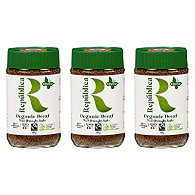 República Organic Decaf Instant Coffee, Café Instantáneo, Certified Organic, Fair Trade, Freeze Dried Instant Coffee - 100% Arabica, Decaffeinated Medium Roast (3 Pk, 100g/3.53oz Jars)