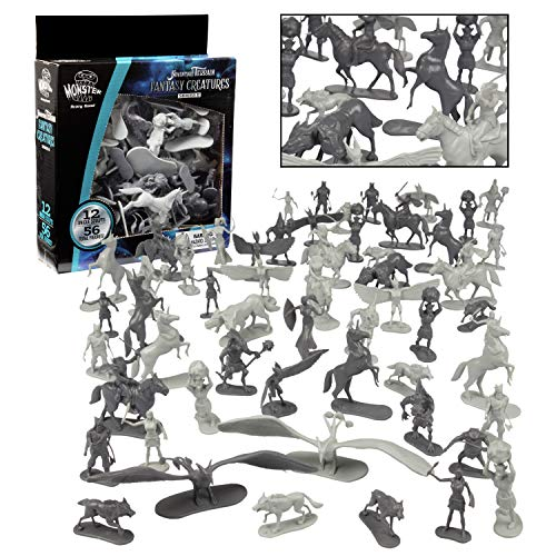 Fantasy Creatures Mini Action Figure Playset - 56pc Toy Monster Miniatures w 12 Difft Sculpts - Large Direwolfs, Cyclops, Winged Dragon Phoenixes & More - 1/32nd Scale Dungeon Paintable Accessories
