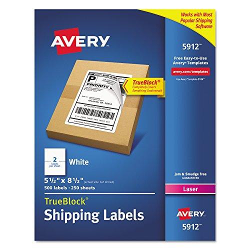 Avery Shipping Address Labels, Laser Printers, 500 Labels, Half Sheet Labels, Permanent Adhesive, TrueBlock (5912) - 05912, White