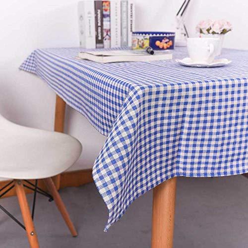 Kuingbhn Manteles de Mesa Rectangular Efecto para Cocina Cotton Linen Thick Simple para Salón Cocina Comedor decoración de Mesa Blue 140×180cm