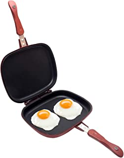Double-sided Portable BBQ Grill Pan, Aluminum Alloy Nonstick Double Omelette Pan Flip Pan Jumbo Grill Cookware for Indoor ...