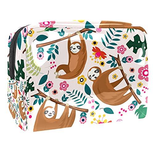 Sloth - Bolsa de maquillaje para monedero, organizador de viaje portátil, bolsa de belleza, impermeable, bolsa de cosméticos para mujeres