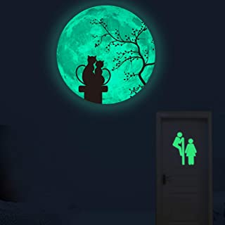 Cat Moon Wall Decals 30cm Luminous Sticker at Night, Perfect Wall Decor for Kids' Bedroom (Pink)