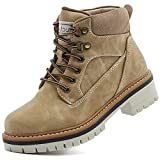 ANJOUFEMME Platform Winter Ankle Boots for Women - Ladies Outdoor Lace up Snow Hiking Boots Waterproof Lightweigh, Fur Lining Walking Hiking Shoes W114-FNW04-TAN-8.5