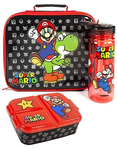 Super Mario Brotdose Set Kinder (Schulkostasche, Wasserflasche, Snacktopf) Einheitsgröße