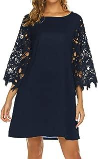Qearal Women's Summer Crochet Lace 3/4 Sleeve Chiffon Tunic Dress Shift Mini Dresses with Pockets