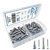 ISPINNER 100pcs Self-Drilling Drywall/Hollow-Wall Anchors Kit with Screws, Kit Includes 2 Different Sizes Anchors(Zinc)