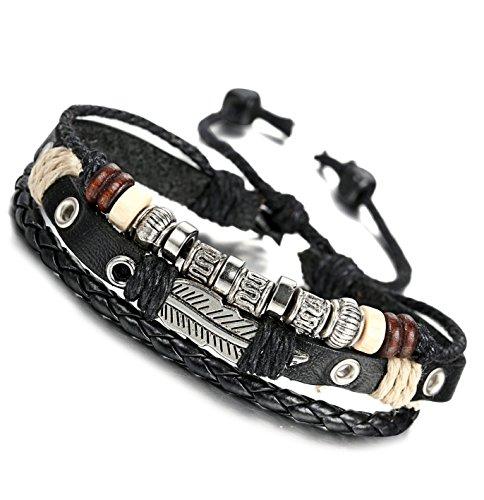 FIBO STEEL Leather Charm Bracelet for Men Braided Wrist Cuff Vintage, 2 Pcs a Set