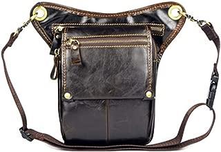 Genuine Leather Men's Messenger Shoulder Bag Travel Motorcycle Bags Riding Fanny Pack Male Waist Thigh Drop Leg Bag (Color : Brown, Size : S)