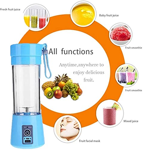 GYROBOWL 4 blade Portable Blender, Personal Size Electric Rechargeable USB Juicer Cup, Fruit Mixer Machine with 4 Blades for Home and Travel (Multicolor) Pack of 1