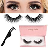 False Eyelashes, 3D Mink Fake Eyelashes, with a Lashes Applicator, Fluffy and Universal for All Eyes, WONTECHMI Non-Magnetic,Natural Look Eyelashes Enhancer, Reusable, 100% Handmade(glamour)