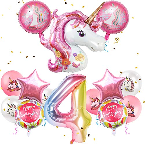 """MOVINPE Unicorn Balloons Birthday Party Decorations for Girls 4th Party, 43"""" Pink Large Unicorn Gradient Jumbo Number""""4"""" Foil Balloon Bouquet, Girly Unicorn Theme Party Supplies Backdrop Decor"""