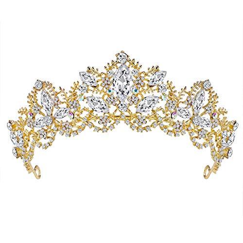 Fablcrew Vintage Reina Princesa Corona tocado de novia tocado de cristal para...