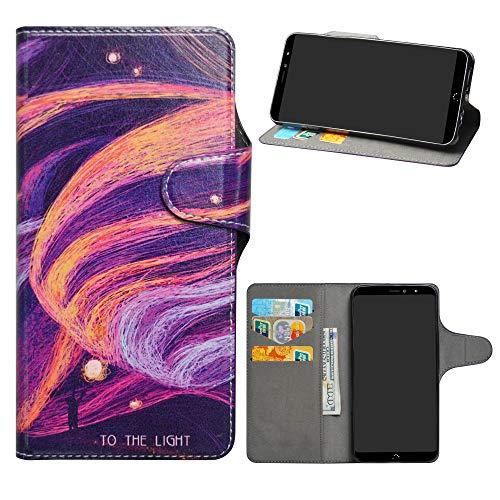 HHDY BQ Aquaris X2 Leder hülle, Painted Muster Wallet Handyhülle mit Kartenfächer/Standfunktion Hülle Cover für BQ Aquaris X2 / X2 Pro,Brilliant Purple