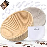 "Chefast Banneton Proofing Basket Set of 9.5"" Natural Rattan Basket with Brotform Cloth Liner, 8 Bread Stencils and Bowl/Dough Scraper + Instructions - Make Perfectly Round Sourdough Boules"