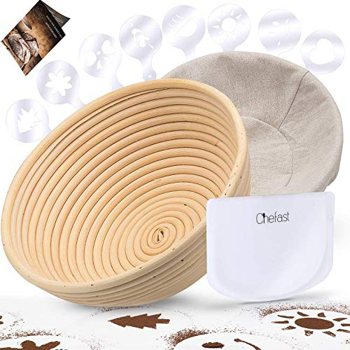 """Chefast Banneton Proofing Basket Set of 9.5"""" Natural Rattan Basket with Brotform Cloth Liner, 8 Bread Stencils and Bowl/Dough Scraper + Instructions - Make Perfectly Round Sourdough Boules"""