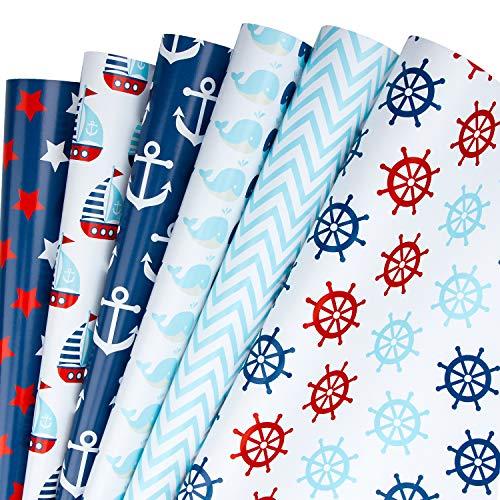 RUSPEPA Geschenkpapierblatt - Nautical Anchors Blue Design Für Geburtstag, Urlaub, Hochzeit, Babyparty - 1 Rolle Enthält 6 Blatt - 44,5 cm X 1 m Pro Blatt