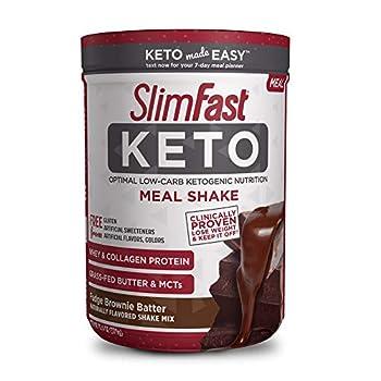 SlimFast Keto Meal Replacement Shake Powder Fudge Brownie Batter Pantry Friendly 13.4 Oz 10 Servings