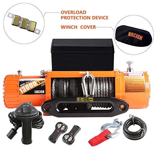 Great Features Of ORCISH 13000lb Waterproof Synthetic Rope Winch -13000Pound Capacity