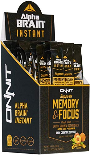 ONNIT Alpha Brain Instant (30ct Box) - Premium Nootropic Brain Booster Supplement - Boost Focus, Concentration & Memory - Alpha GPC, L Theanine, Bacopa Monnieri, Huperzine A, Vitamin B6