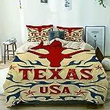 JOSENI Duvet Cover Sheet Set,Beige,Texas Vintage Poster Western Cowboy Style Grunge,Soft Microfiber Bedding Set-3 Piece Set,Twin