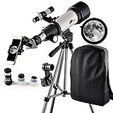 Télescope 400mm, ouverture 70mm, monture AZ: bon télescope de voyage avec sac à dos, idéal pour les enfants et les débutants pour observer la lune et les planètes