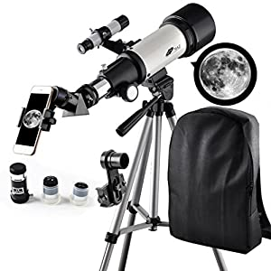Telescope 70mm Apeture Travel Scope 400mm AZ Mount - Good Partner to View Moon and Planet - Good Travel Telescope with Backpack for Kids and Beginners