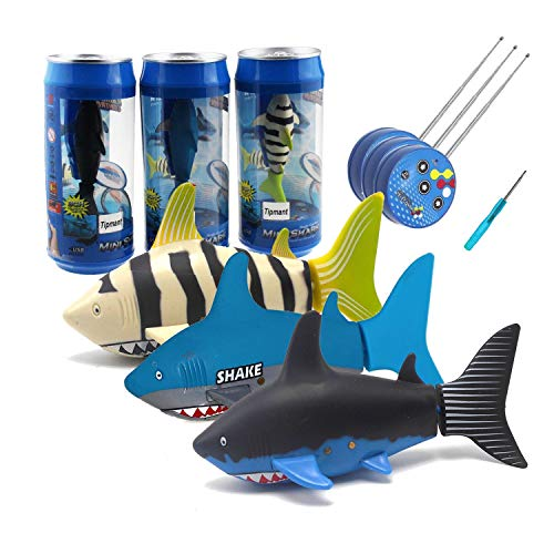 Tipmant Mini RC Fish Shark Radio Remote Control Boat Ships & Submarine for Fish Tank, Swimming Pool, Bathtub Kids Electric Animal Toy - 3 Pack