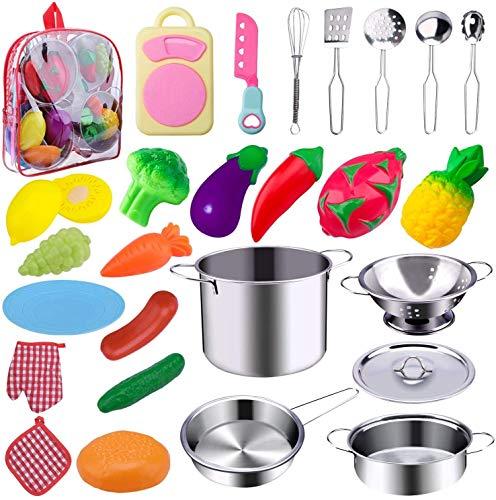 Jionchery 26 szt. zestaw zabawek kuchennych udawanie akcesoria do zabawy ze stali nierdzewnej garnki i patelnie, zestaw zabawek edukacyjnych zestaw do krojenia owoców i warzyw dla dzieci dziewcząt chłopców małych dzieci