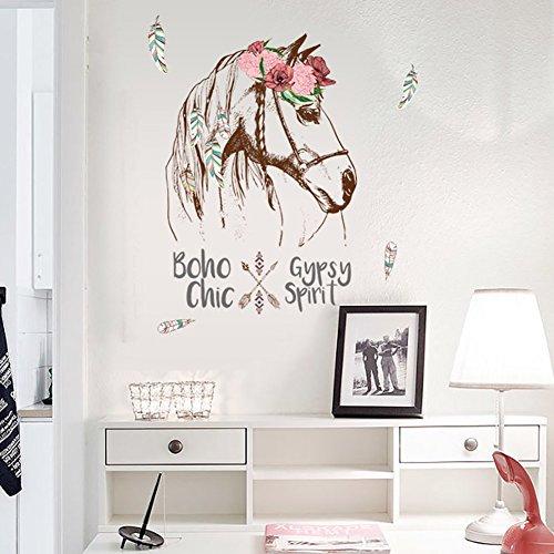 WandSticker4U®- Wandtattoo PFERDEKOPF mit Blumen in Boho-chic Style I Wandbilder: 56x90 cm I Wandaufkleber Kinderzimmer Mädchen Pferd Poster I Wandsticker für Prinzessin Pferde-Fans