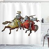 ABAKUHAUS Bunt Duschvorhang, Mittelalter Ritter, mit 12 Ringe Set Wasserdicht Stielvoll Modern Farbfest & Schimmel Resistent, 175x220 cm, Mehrfarbig