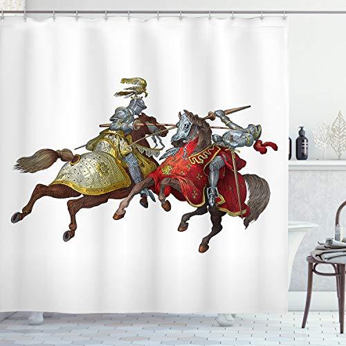 ABAKUHAUS Bunt Duschvorhang, Mittelalter Ritter, Wasser Blickdicht inkl.12 Ringe Langhaltig Bakterie & Schimmel Resistent, 175 x 220 cm, Braun Rot