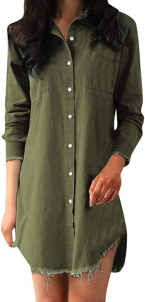 LISTHA Denim T-Shirt Dress Long Sleeve Maxi Dresses for Women Plus Size with Pockets