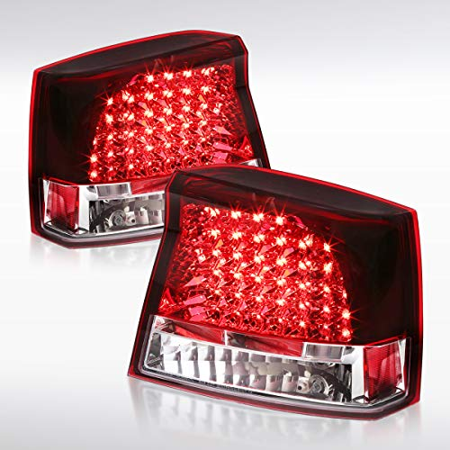 Autozensation For Dodge Charger Replacement Red LED Tail Lights Rear Stop Brake Lamps Pair