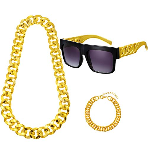 80s/90s rapper costume Hip Hop Costume Kit Metal Chain Flat Top Sunglasses Rapper Big Links Chain Necklace and Bracelet