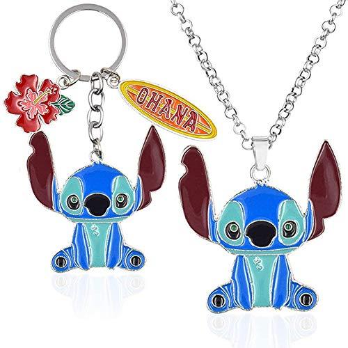 OYSJ Collar Star Baby Stitch,Llavero Lilo & Stitch,Disney Llavero y Collar de Metal sin níquel, Diseño de Animales de la Familia y los Animales, Colgante de Coche,Collar Llavero