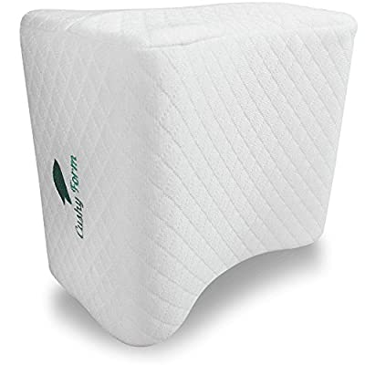 Cushy Form Knee Pillow for Side Sleepers - Sciatic Nerve Pain Relief Leg Pillow - Best for Sciatica, Pregnancy, Hip, Back and Spine Alignment - Memory Foam Orthopedic Contour Wedge with Washable Cover