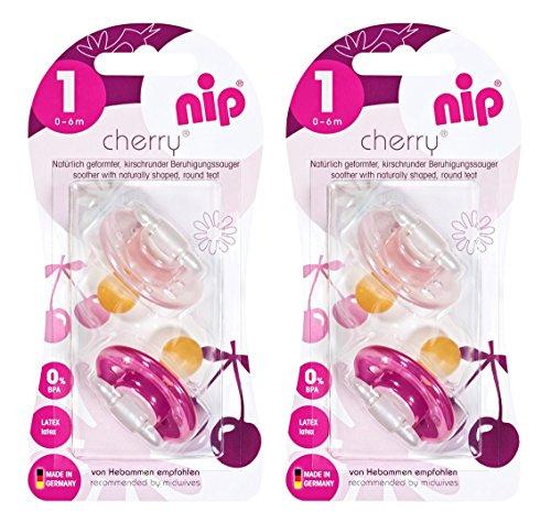 nip 38352-51 Rundsauger Cherry Doppelpack Girl, Latex, 0-6 Monate, mehrfarbig