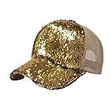 Lenfesh Gorra de béisbol de Lentejuelas Brillantes Snapback Sombrero de Verano para Mujer (Dorado)