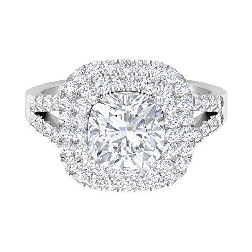 Anillo de compromiso de doble halo, anillo de moissanite solitario D-VSSI de 3 quilates, piedra preciosa de corte cojín, anillo de boda vintage, anillo de vástago dividido, 14K Oro blanco, Size:EU 54