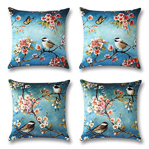 Artscope Juego de 4 fundas de almohada de seda satinada, diseño de pájaros, diseño de flores de mariposa, para sofá, decoración del hogar, 45 x 45 cm