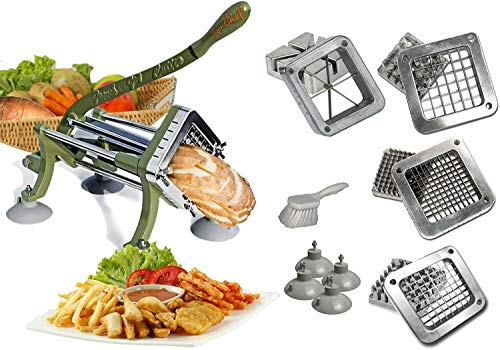 Tiger Chef French Fry Cutter Commercial Grade Heavy Duty Vegetable Slicer Machine with Suction Feet - Includes 4 Attachments and Cleaning Brush - Restaurant Fries Cutter Set