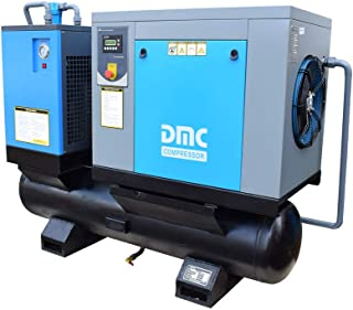 HPDMC Rotary Screw Compressor -10 HP / 7.5 KW - 40 CFM / 115 PSI - 230 Voltage / 3-Phase - Industrial Air Compressed System with 80 Gallon Tank & Air Dryer
