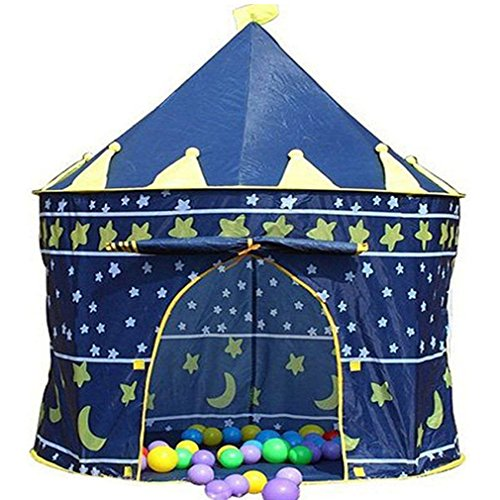 Crystals Kids Pop Up Wizard Princess Castle Playing Tent Indoor Outdoor Playhouse Fun Toy (Blue)