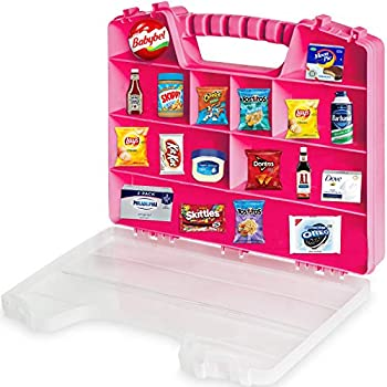 ASH BRAND Pink Durable & Portable Kid s Toy Storage Collector case Securely Stores Mini Figurines Secure Clasping System Plus Carrying Handle Compatible with Mini Toys