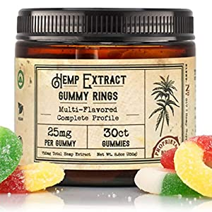 Hemp Gummies - Infused with Organic Hemp (25mg per Gummy, 30 Count, 750mg Total) - Third Party Tested for Potency, CO2 Extracted Hemp Oil - R+R Medicinals