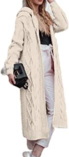 Coolred Womens Plus-size Knitwear Full Length Solid Warm Hood Cardigan Sweater