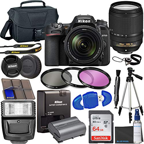Nikon D7500 DSLR Camera with 18-140mm VR Lens + 64GB Card, Tripod, Flash, 3 Piece Filter Kit, Case, and More