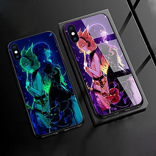 Carcasa de Telefono,Funda Protectora para iPhone Funda para Teléfono 3D Carcasa de Vidrio Templado Borde Suave Brillo Nocturno Juego Proyecto Touhou Serie (Compatible con iPhone 6S)